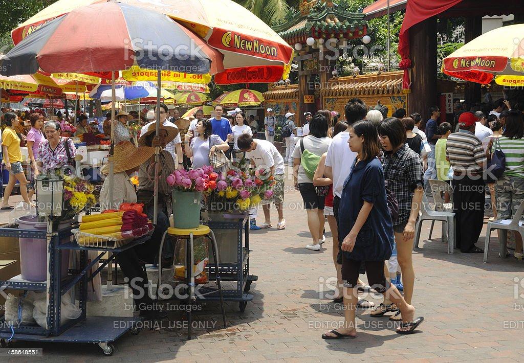 Lotus Sellers, Kuan Yin Temple, Singapore royalty-free stock photo