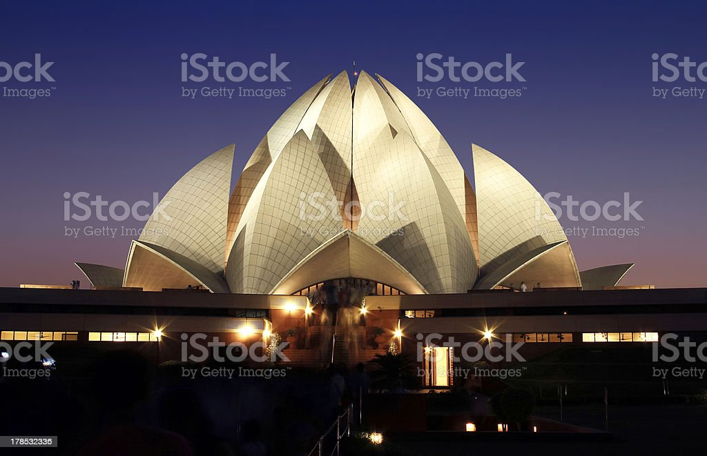lotus temple at night in delhi, india stock photo