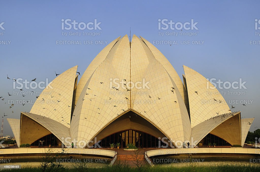 Lotus temple. Bahai House of worship in Delhi royalty-free stock photo
