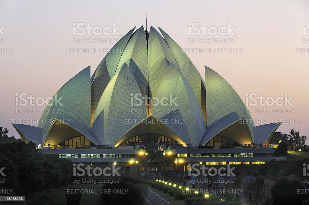 Lotus temple. Bahai House of worship in Delhi, stock photo