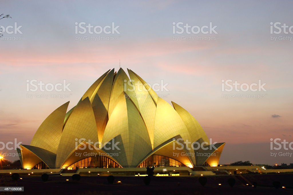 Lotus Temple night view, New Delhi, India stock photo