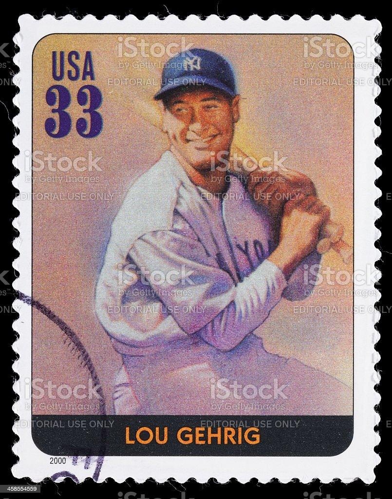 USA Lou Gehrig postage stamp stock photo