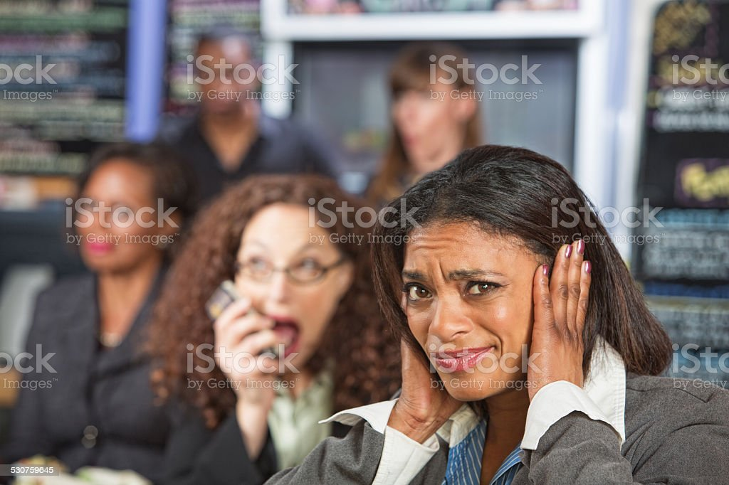 Loud Person on Phone stock photo