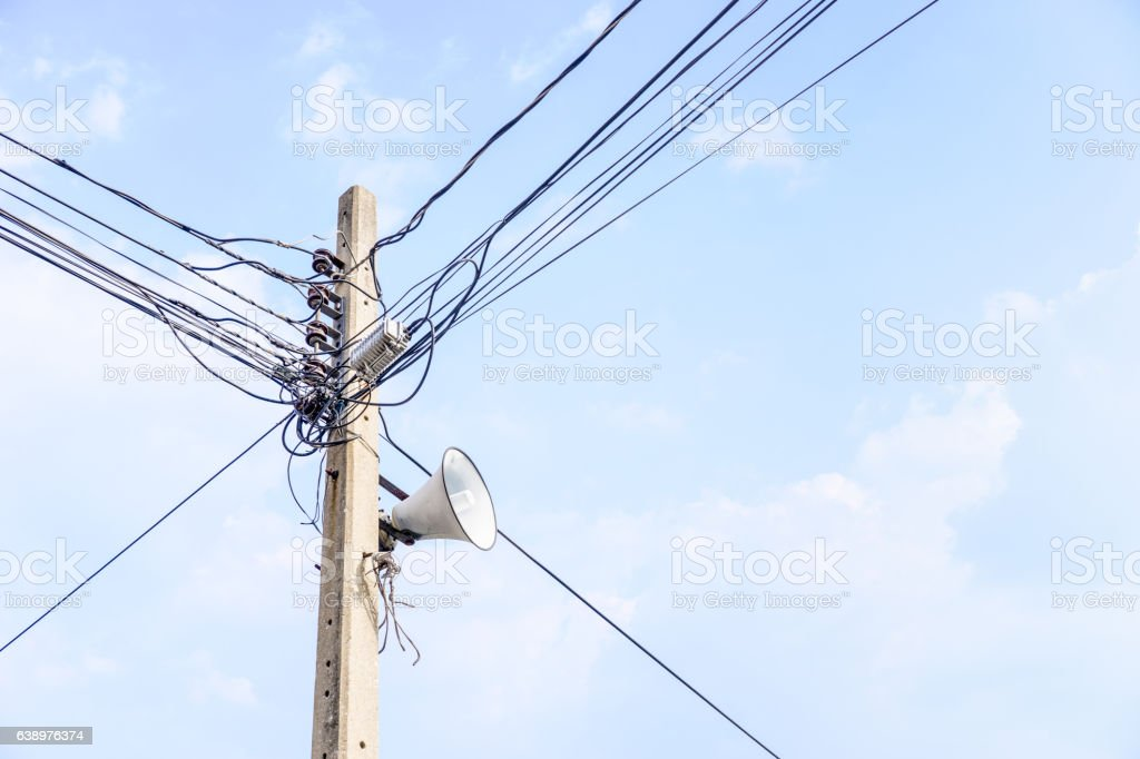 loudspeaker and Electric wire on the pole stock photo
