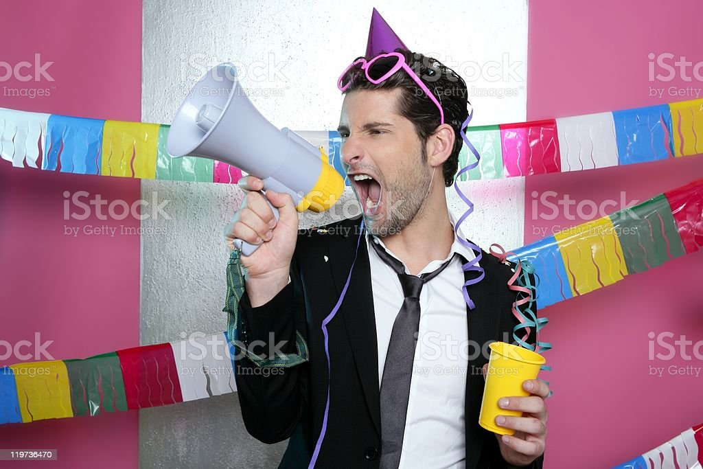 Loudspeaker crazy party man shouting happy stock photo