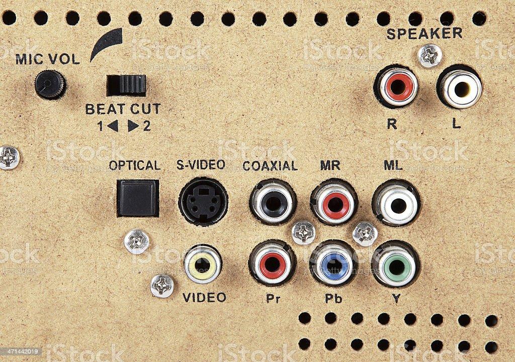 Loudspeaker Inputs (Click for more) stock photo