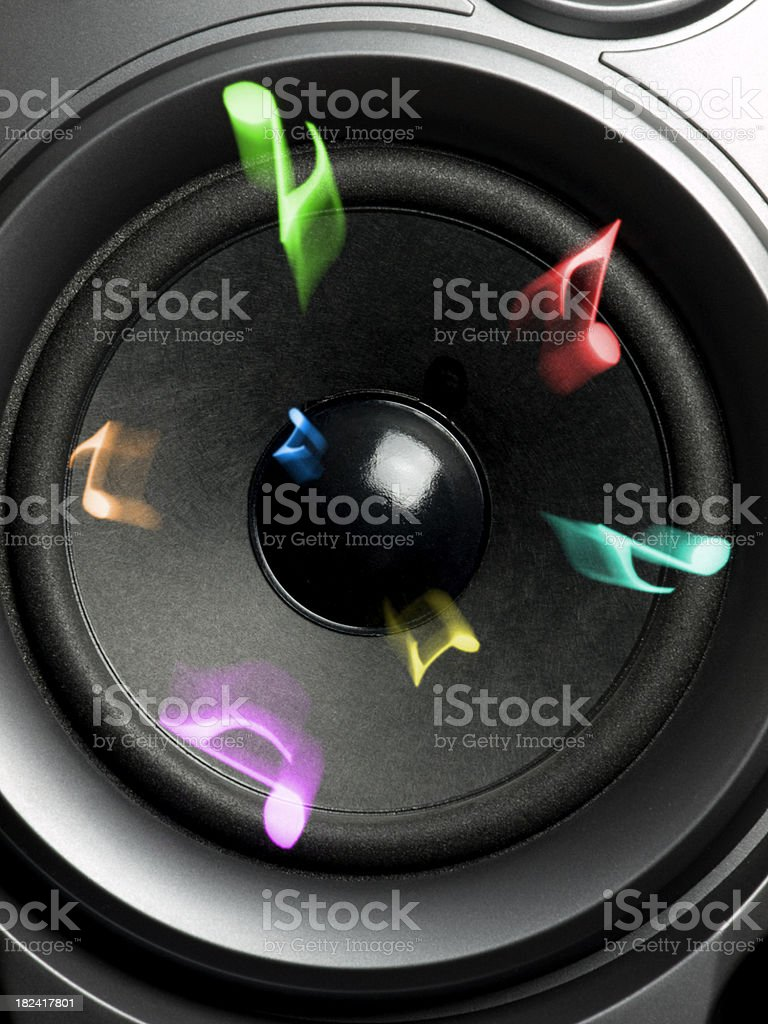 loudspeaker with music notes royalty-free stock photo