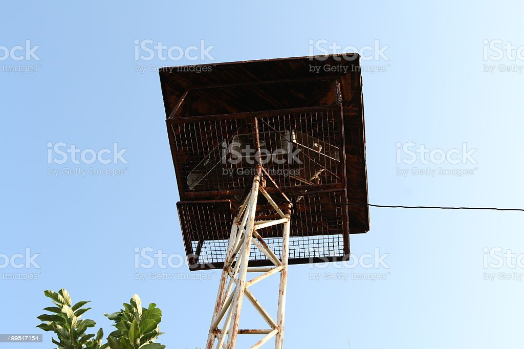 Loudspeakers broadcast in schools stock photo