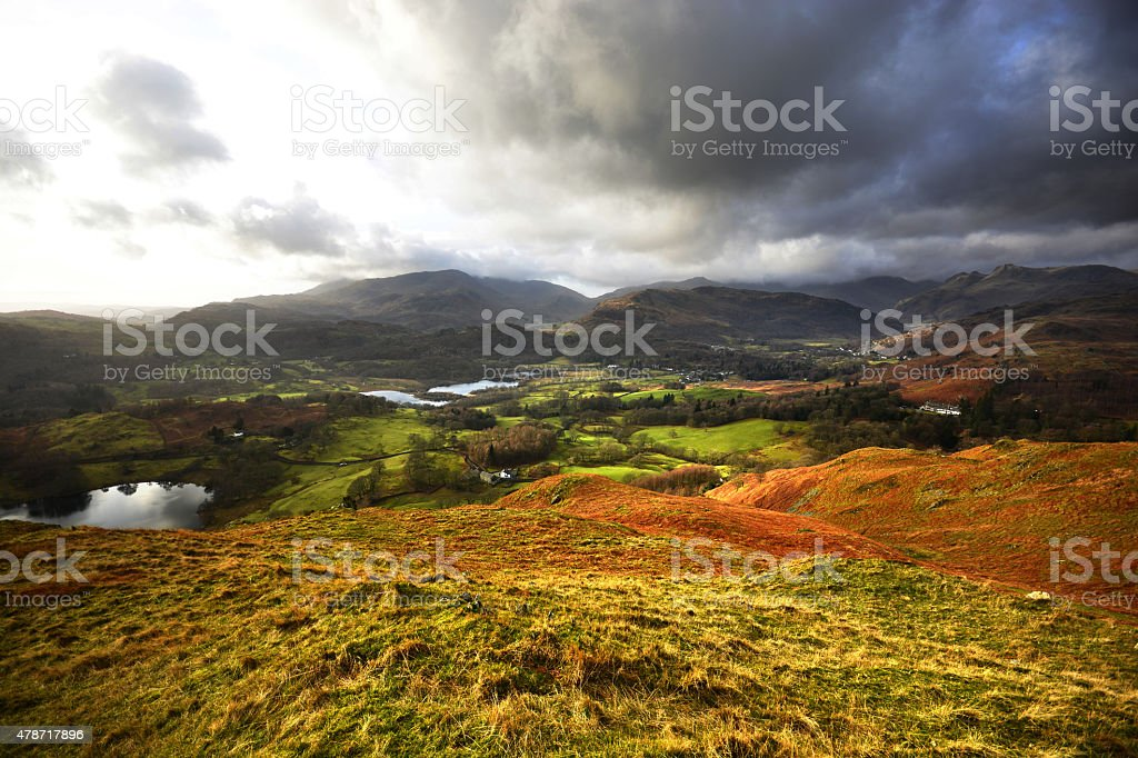Loughrigg Tarn and Elterwater from Loughrigg stock photo