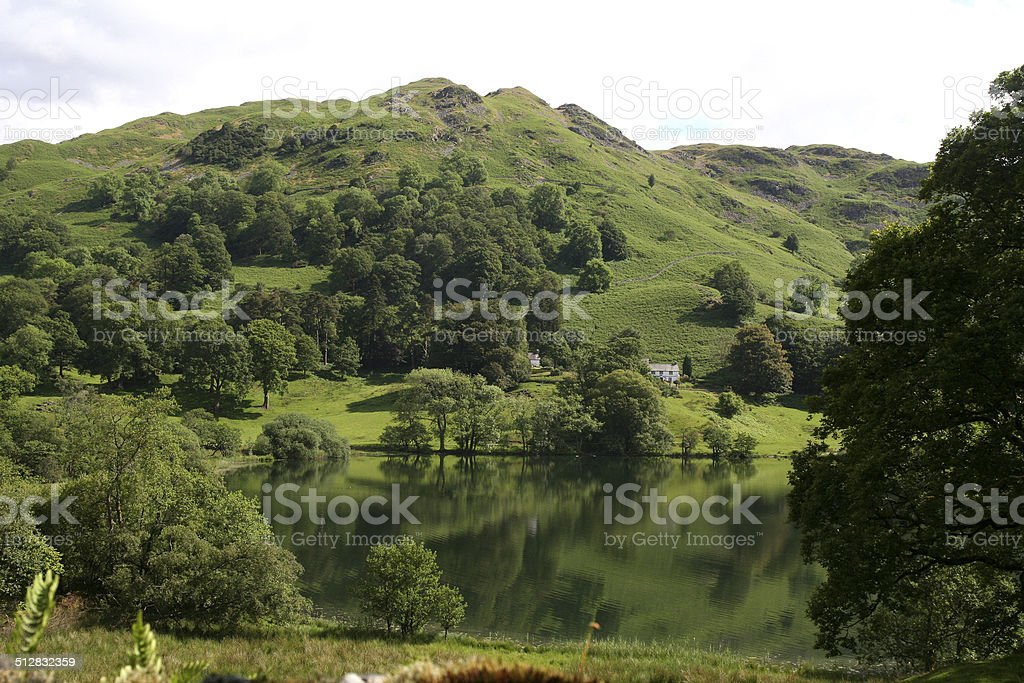 Loughrigg Tarn and Fell. stock photo