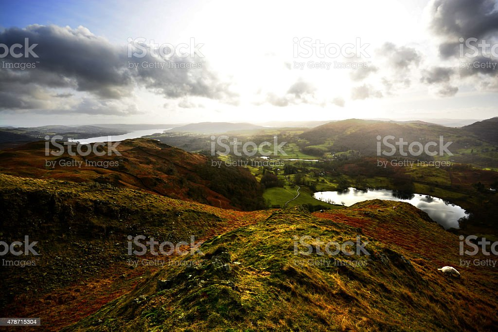 Loughrigg Tarn and Windermere stock photo