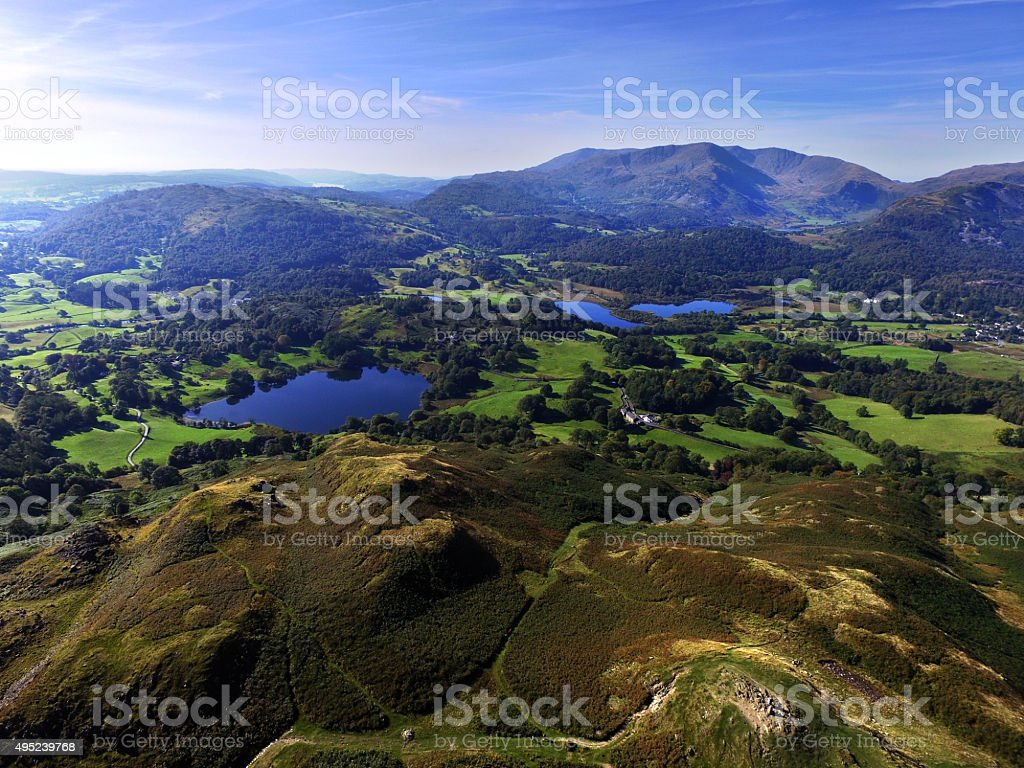 Loughrigg Tarn & Elerwater from above Loughrigg stock photo