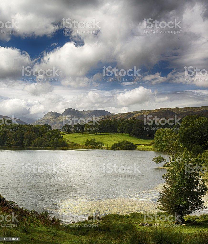 Loughrigg Tarn in Lake District stock photo