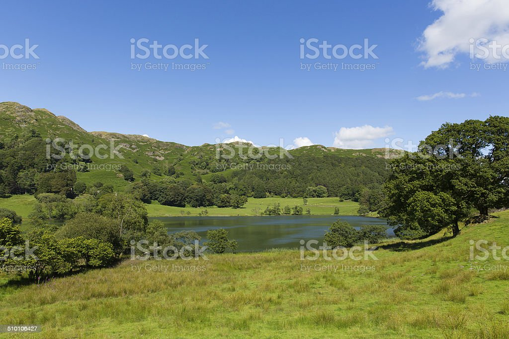 Loughrigg Tarn Lake District Cumbria England situated north of Windermere stock photo