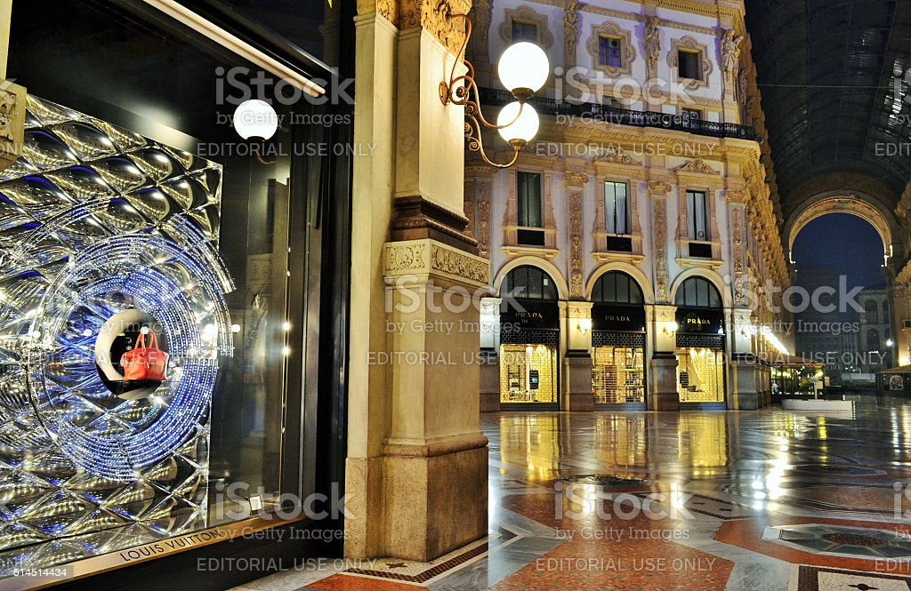 Louis Vuitton boutique inside the Vittorio Emanuele II Gallery. stock photo