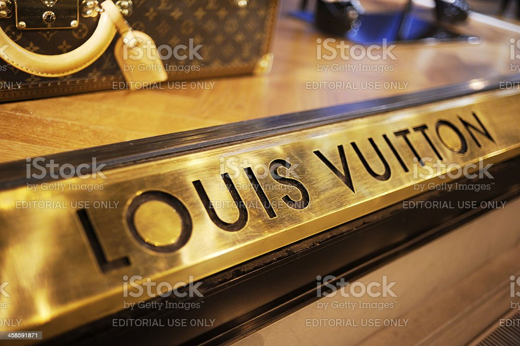 Louis Vuitton Boutique Window in Florence stock photo