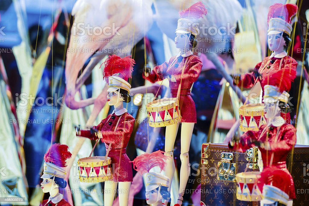 Louis Vuitton Christmas Decorated Window Display, Galleries Lafa stock photo