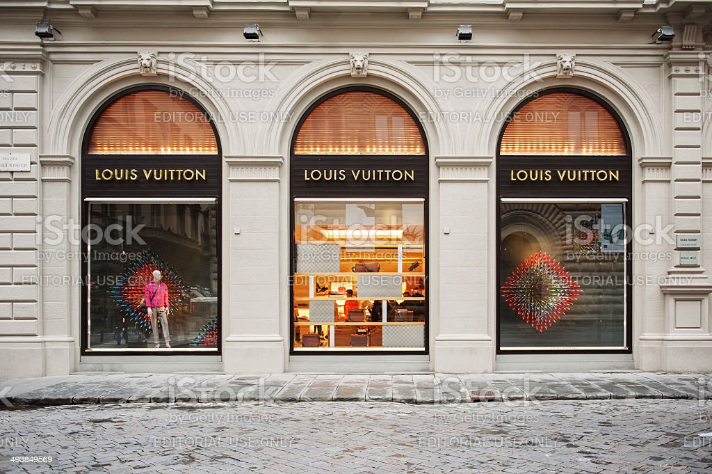 Louis Vuitton store facade on fashion street stock photo