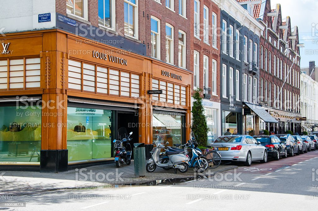 Louis Vuitton store on the P.C.Hooftstraat shopping street, the Netherlands. stock photo