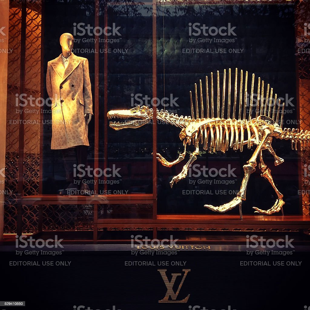 Louis Vuitton Store showcase on the Champs Elysees stock photo