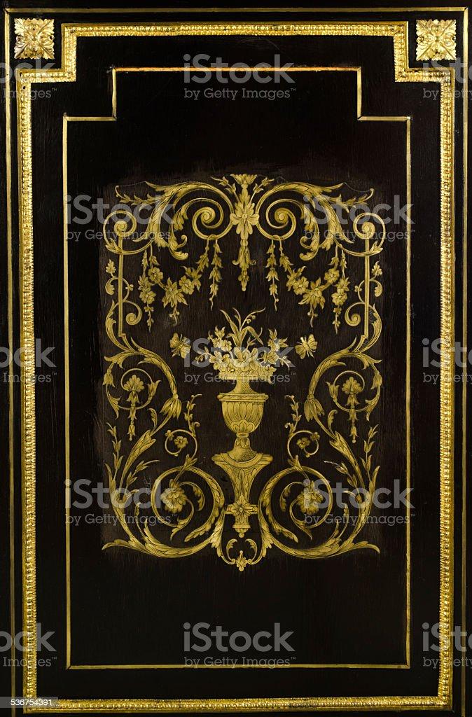 Louis XVI Style Inlaid Cabinet Detail stock photo