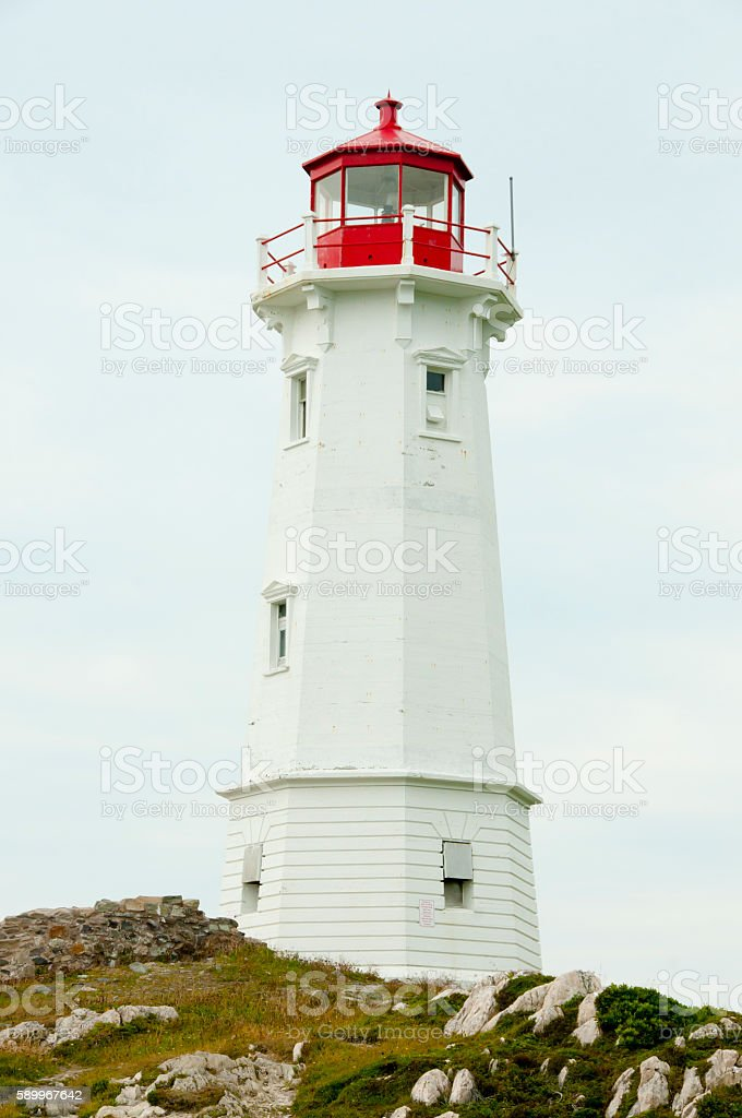 Louisbourg Lighthouse - Nova Scotia - Canada stock photo
