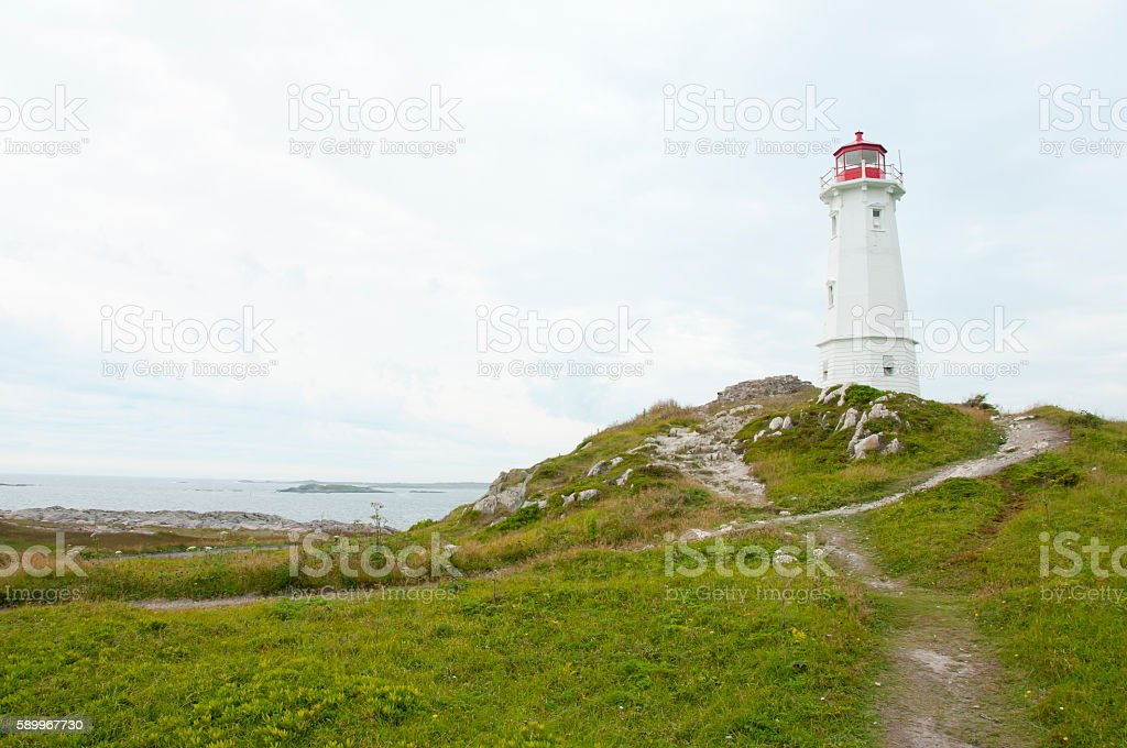 Louisbourg Lighthouse - Nova Scotia - Canada stock photo
