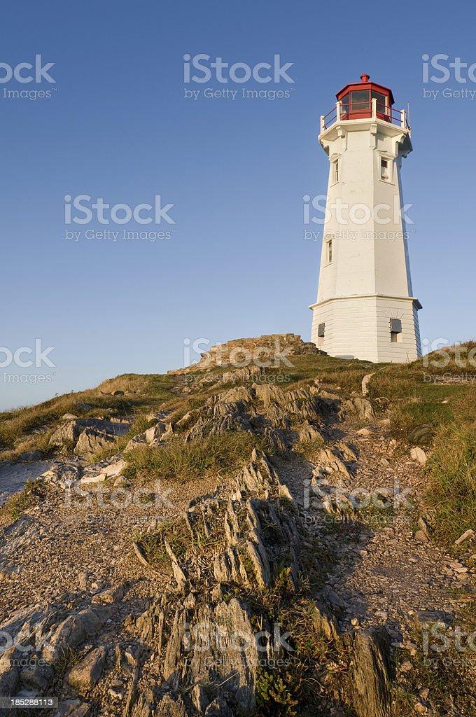 Louisbourg lighthouse sunrise stock photo
