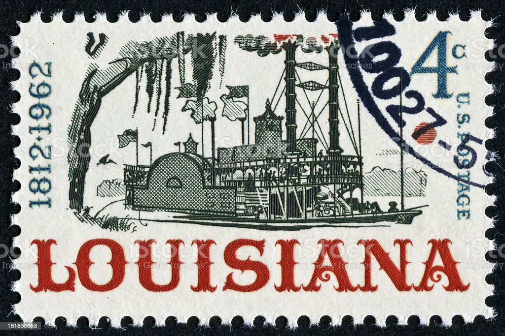 Louisiana Riverboat Stamp royalty-free stock photo