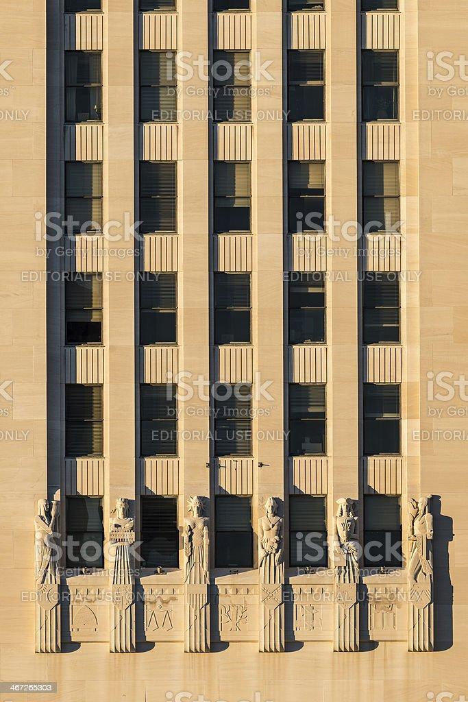 Louisiana State Capitol Art Deco Wall stock photo