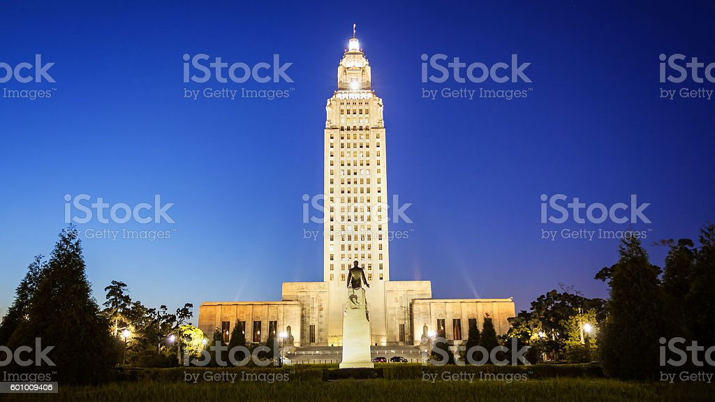 Louisiana State Capitol Building in Baton Rouge at Night stock photo