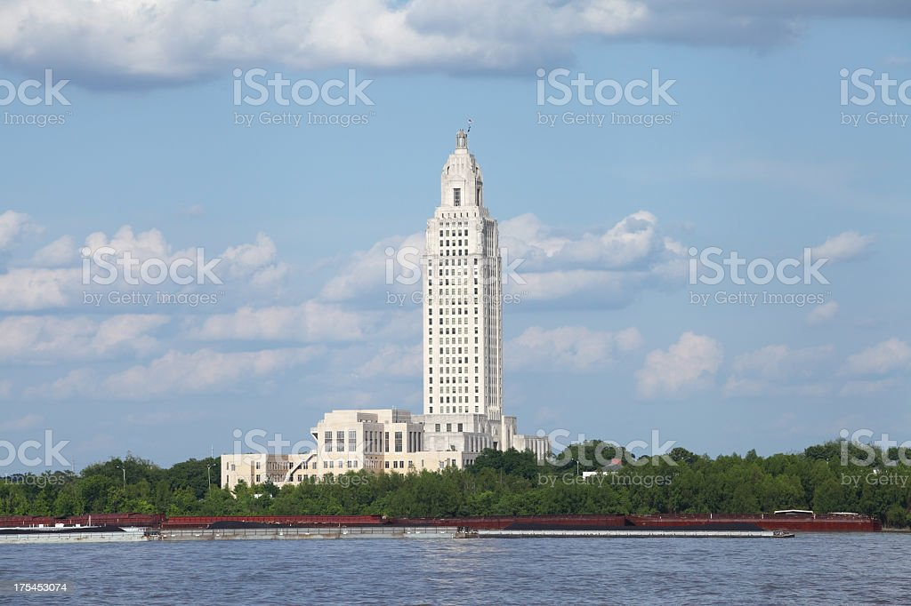 Louisiana State Capitol on the Mississippi River stock photo