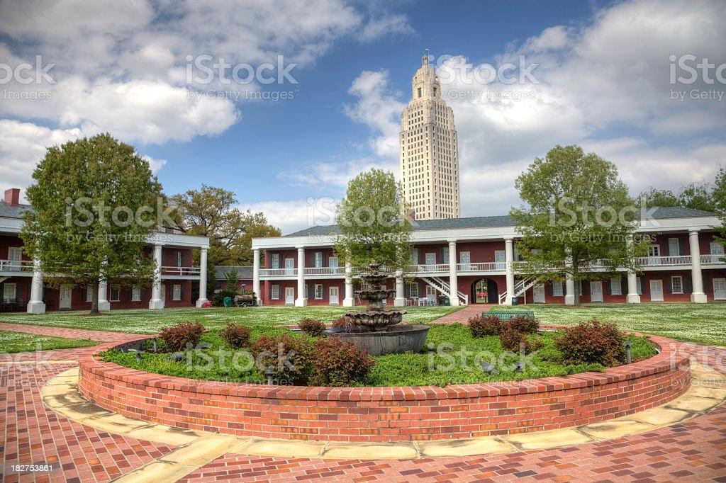 Louisiana State Capitol  seen from the Pentagon Barracks stock photo