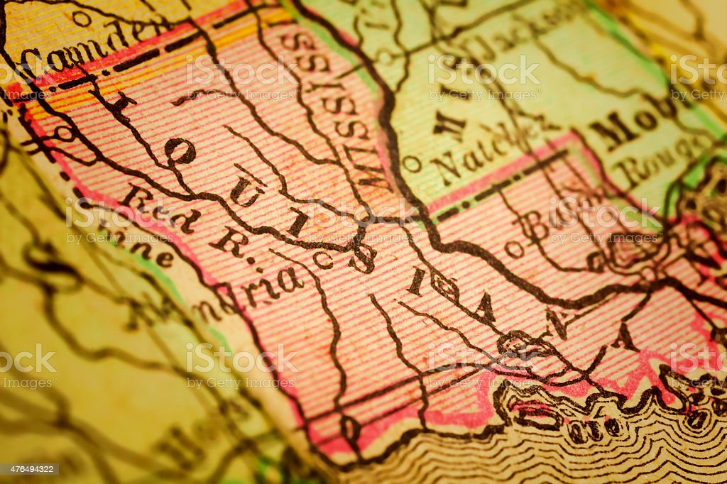Louisiana State on an Antique map stock photo