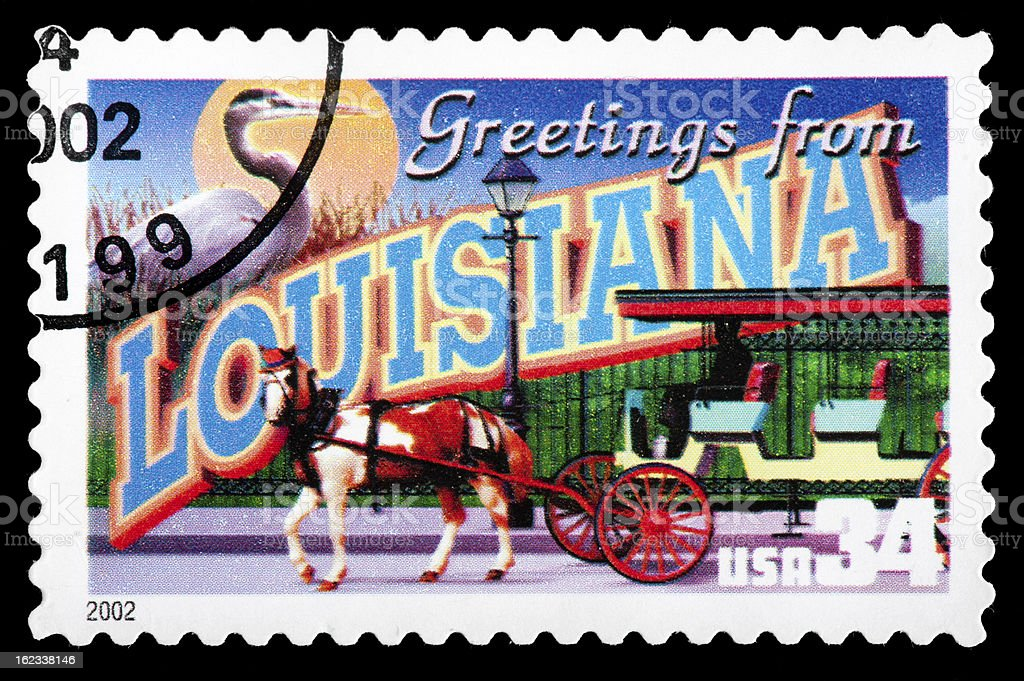 "Louisiana State Postage Stamp ""Greetings From America"" Retro Postcard Theme stock photo"