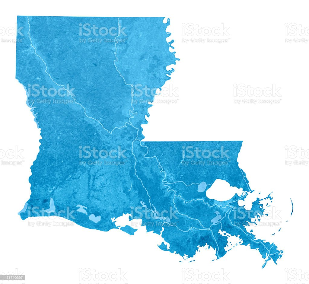 Louisiana Topographic Map Isolated stock photo
