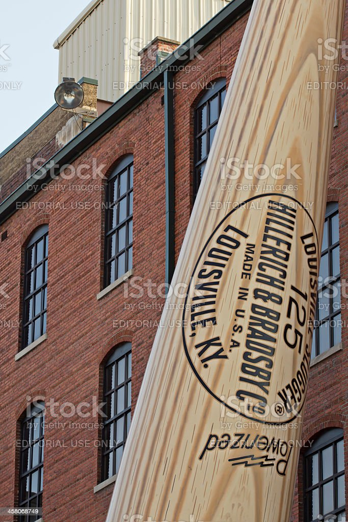 Louisville Slugger Bat Leaning Against the Museum stock photo