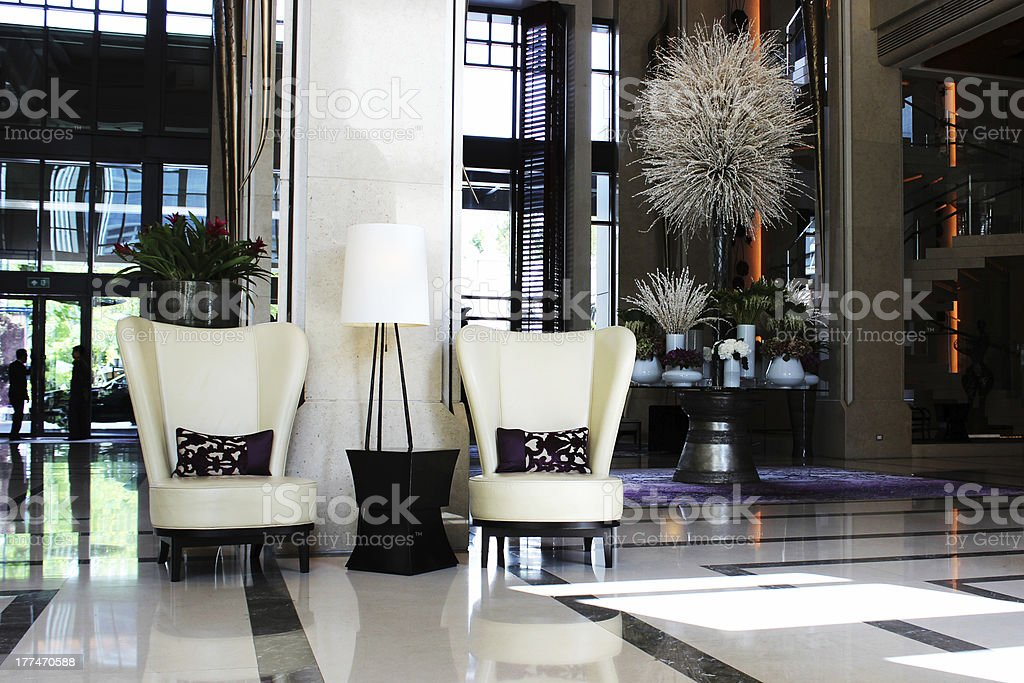 Lounge area, fragment of the lobby hotel. royalty-free stock photo