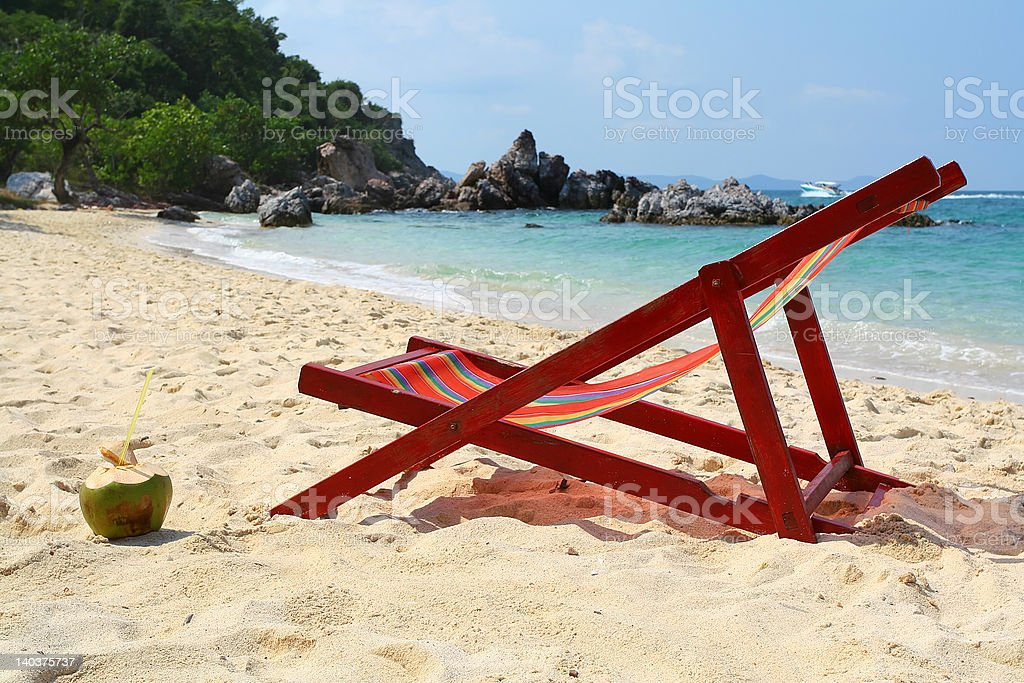 Chaise longue on beach royalty-free stock photo