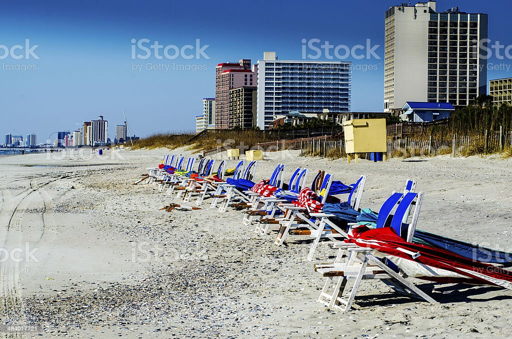Lounge Chairs On Myrtle Beach In The Winter stock photo
