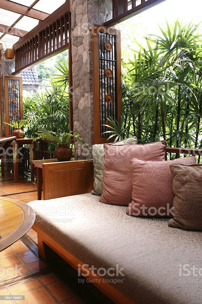 Lounge of a resort hotel royalty-free stock photo