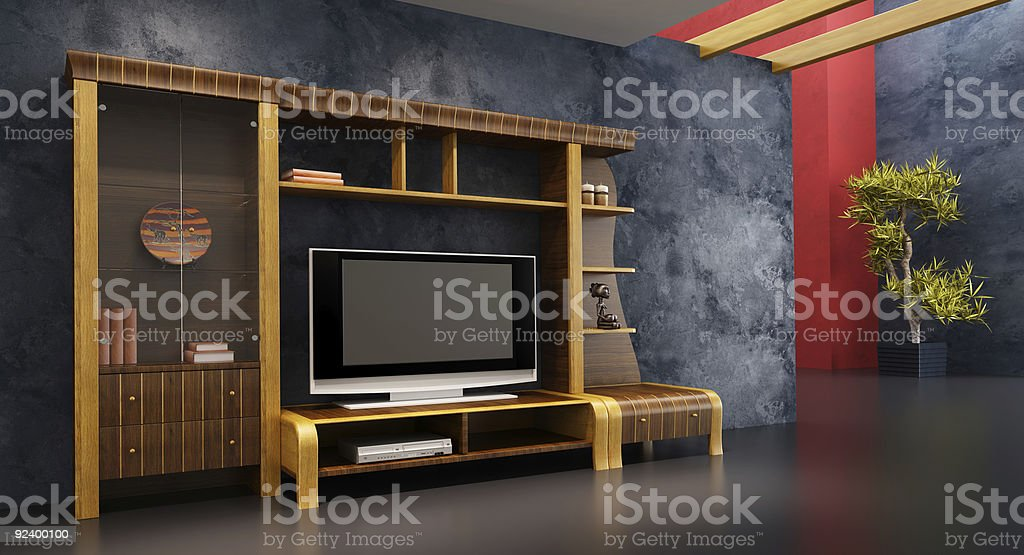 lounge room interior with bookshelf and TV royalty-free stock photo