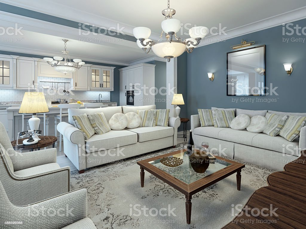 Lounge room mediterranean style stock photo