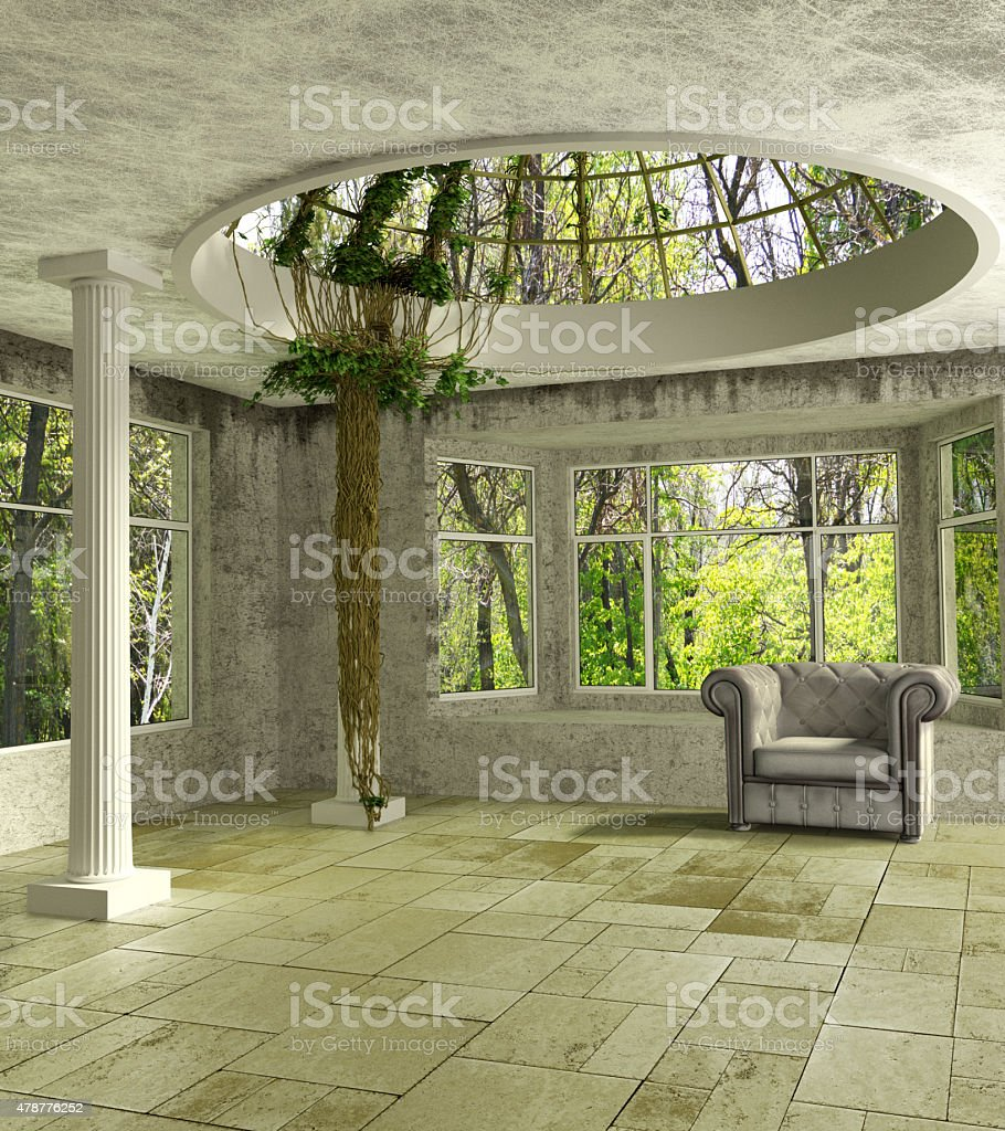 3D Lounge room with an ivy stock photo