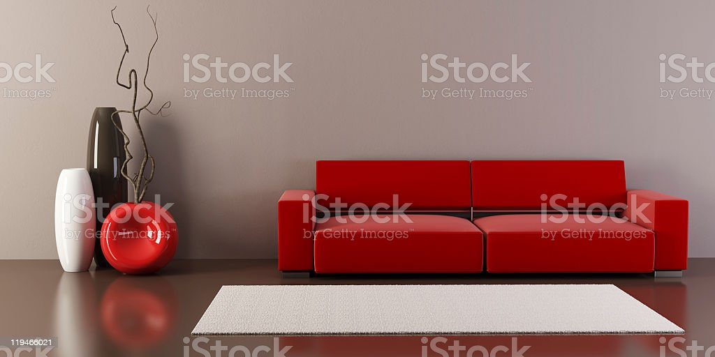 Lounge room with red couch and vases vector art illustration