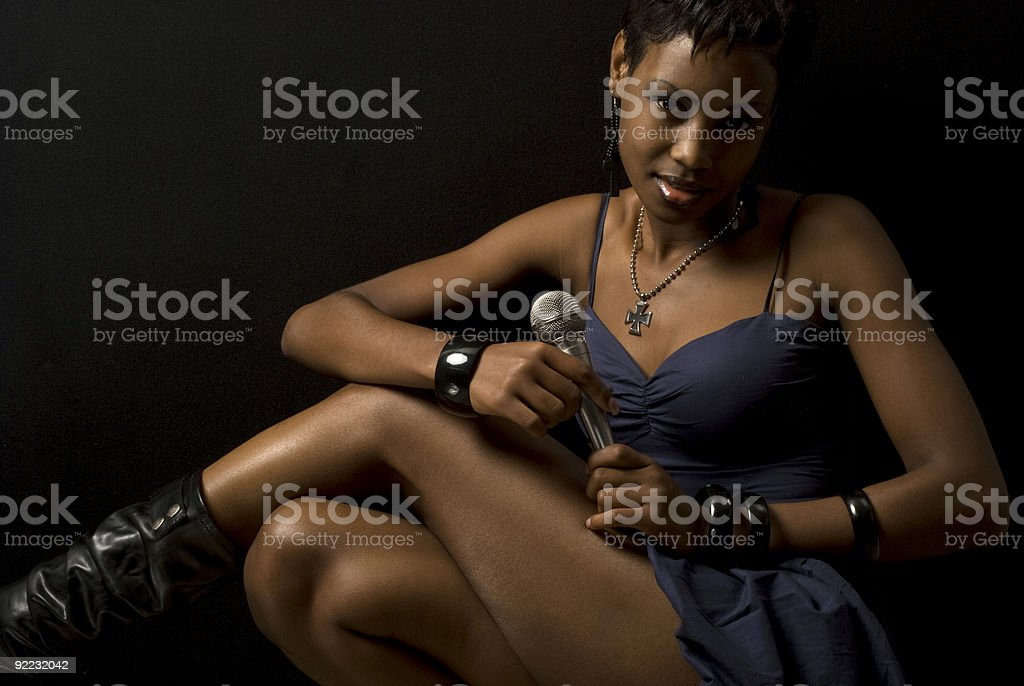 Lounge Singer In Blue Dress stock photo