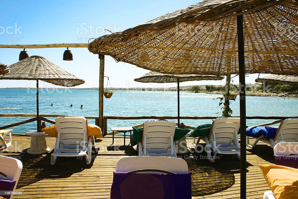 lounge , sunbed beach club royalty-free stock photo