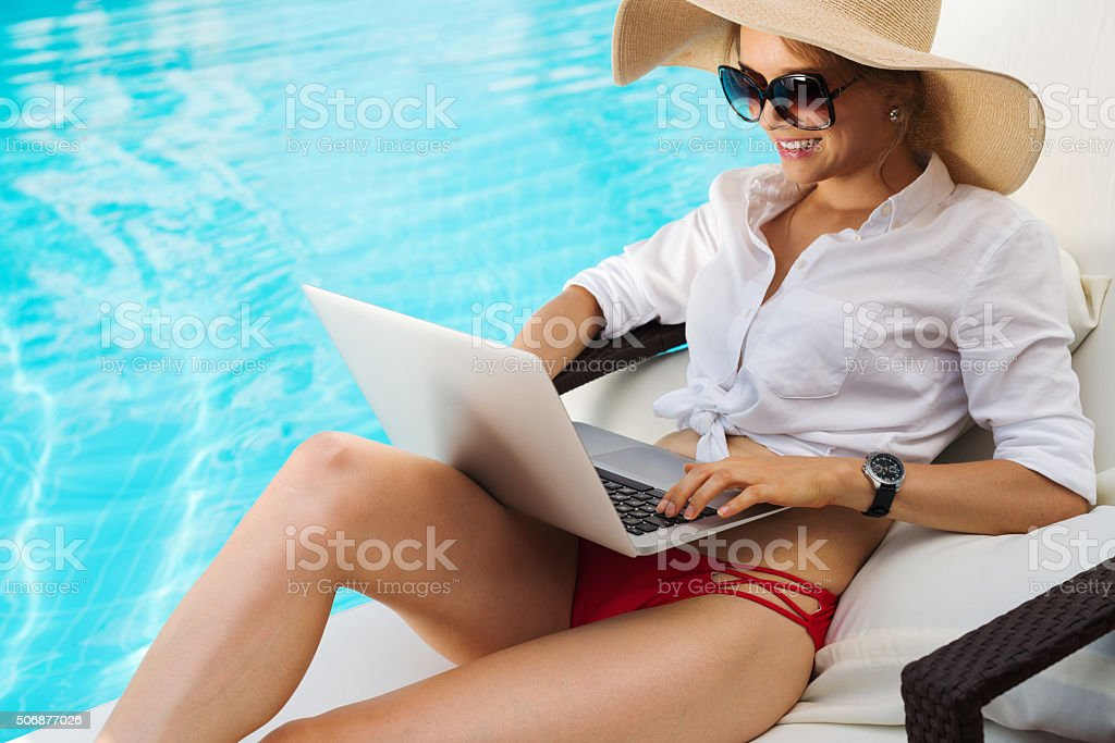 Lounging and working stock photo