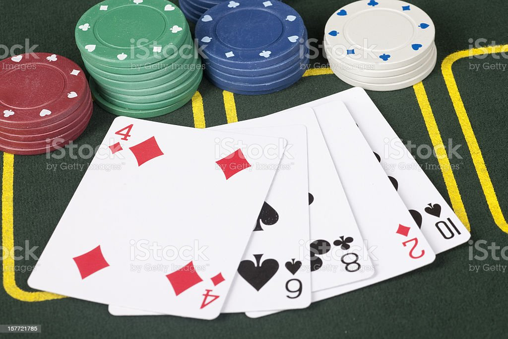 Lousy Poker Hand, Playing-Cards, Gambling, Chips, Losing, Chance, Casino royalty-free stock photo