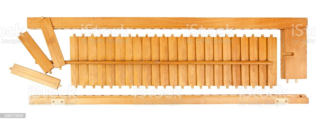 Louvered Window Shutter Pieces stock photo